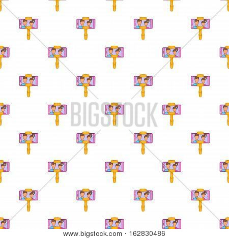Cartoon illustration of selfie stick with mobile phone vector pattern for web