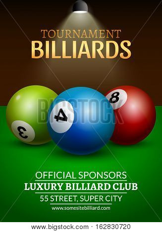 Vector Billiard challenge poster. 3d realistic balls on billiard table with lamp. Flyer design cover championship.