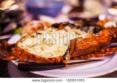 Grilled lobster hua hin night market. hua hin thailand
