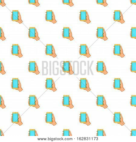 Mobile phone in hand pattern. Cartoon illustration of mobile phone in hand vector pattern for web