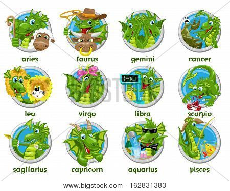 Dragons horoscope set. Collection of twelve isolated zodiac signs with dragons