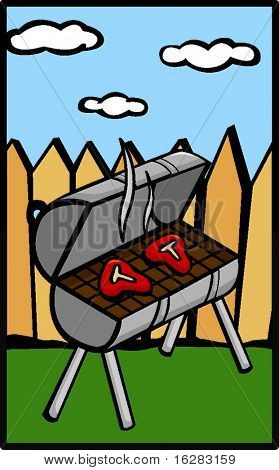 grill in backyard with steaks