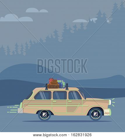 Cool vector modern retro car with suitcases luggage on roof rack. Tourism design.Travel by car. Road trip vacation.
