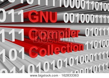 GNU Compiler Collection in the form of binary code, 3D illustration