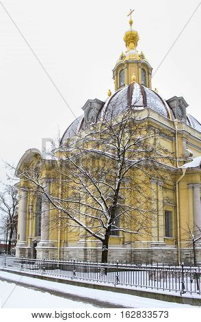 St. Petersburg, Russia - 2 December, Grand Ducal Burial Vault Petro Paul Fortress, 2 December, 2016. Land and building the Peter-Paul fortress.