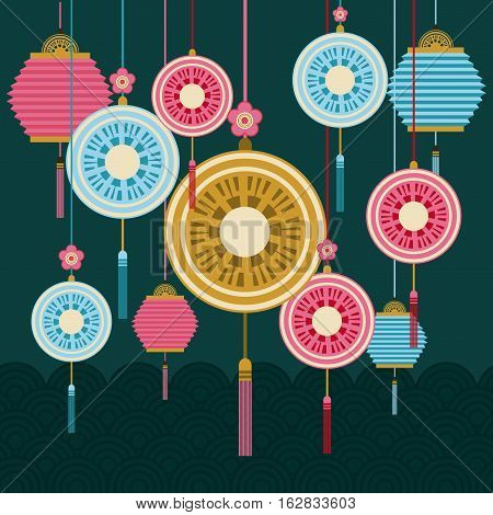chinese lanterns and decorations hanging. colorful design. vector illustration