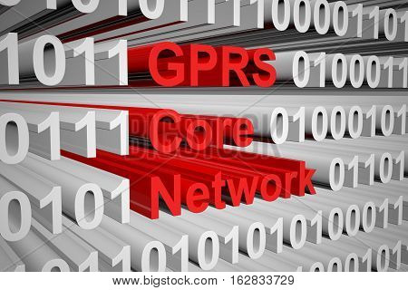 GPRS Core Network in the form of binary code, 3D illustration