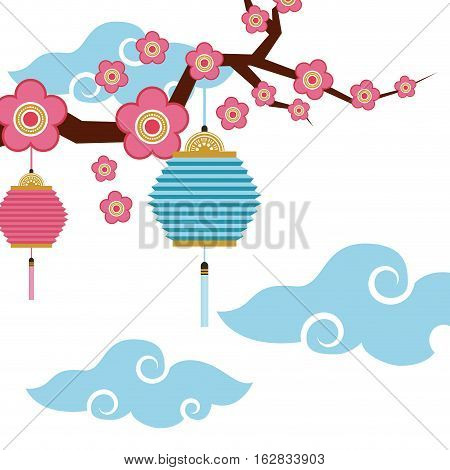 chinese branch with flowers and lanterns decorations hanging. colorful design. vector illustration