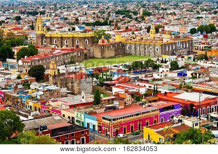 Cholula Mexico - November 10 2016: Aerial view of downtown and of Convent of San Gabriel in Cholula Puebla