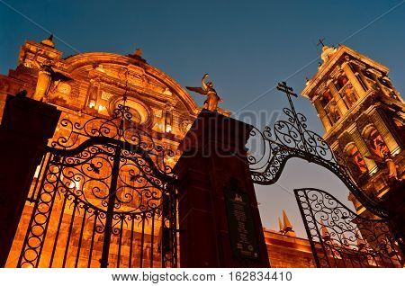 Puebla Mexico - November 26 2016: Puebla Cathedral at night in Puebla Mexico
