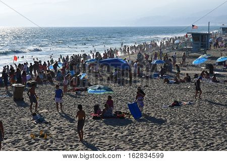 Santa Monica California USA - july 15 2016 : the beach in summer
