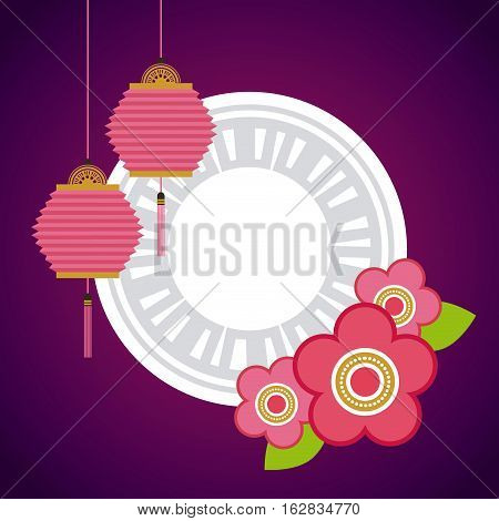 chinese lanterns hanging and decorative flowers over white circle and purple background. colorful design. vector illustration
