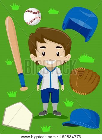 Vector Illustration of Baseball Player Boy Elements