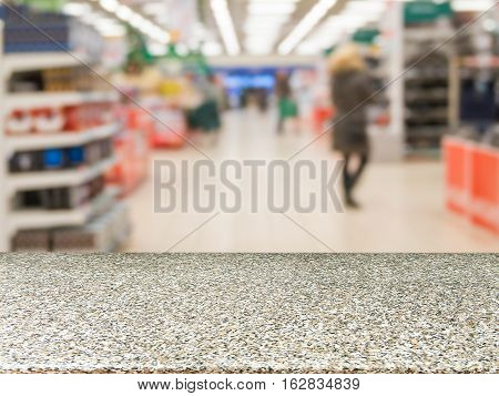 Marble Empty Table In Front Of Blurred Supermarket