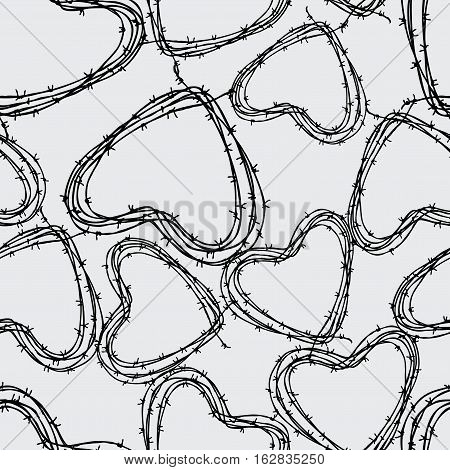 Vector pattern of the barbed wire in the form of the hearts shapes.