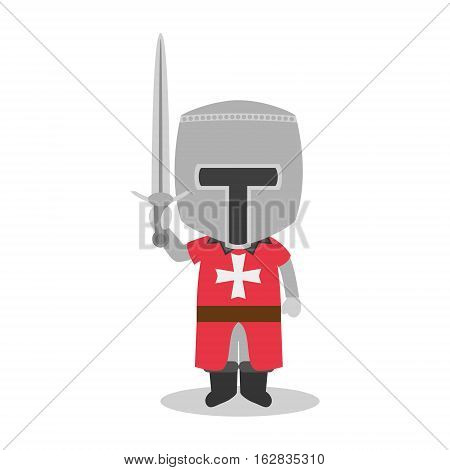 Character from Malta dressed in the traditional way as a Maltese Warrior. Vector Illustration. Kids of the World Collection.