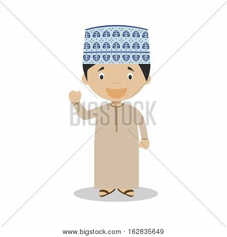 Character from Oman dressed in the traditional way Vector Illustration. Kids of the World Collection.
