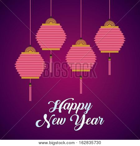 happy new year card with chinese lanterns hanging over purple background. colorful design. vector illustration