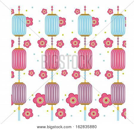 background of chinese lanters and pink flores decorations. colorful design. vector illustration