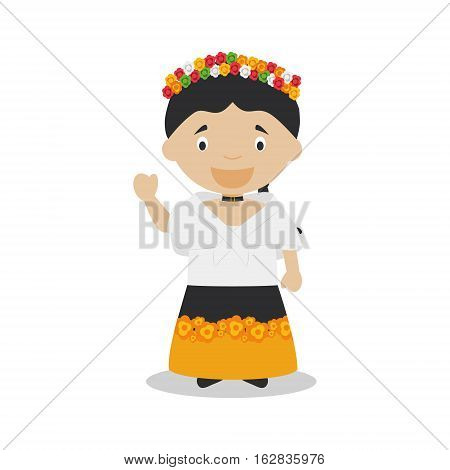 Character from Philippines dressed in the traditional way Vector Illustration. Kids of the World Collection.