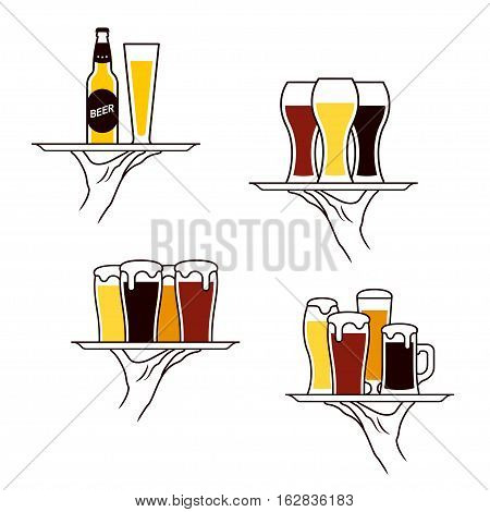 Hand of waiter holding beer bottle and glass on tray. Vector illustration