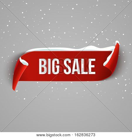 Winter Big sale background with red realistic ribbon. Winter poster or banner promotional design with snow. Vector discount marketing element.