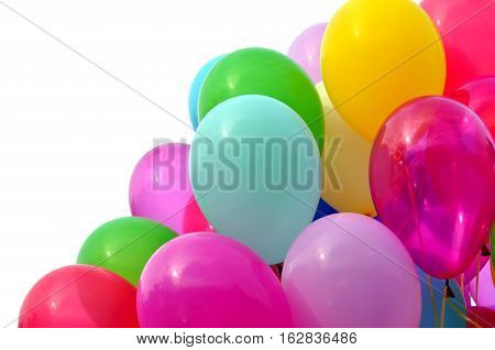 multicolored balloons isolated on the white background