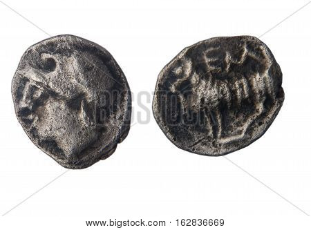 Currency mite the Greek city of Ampurias Pp fourth century B.C front: head back: lamb