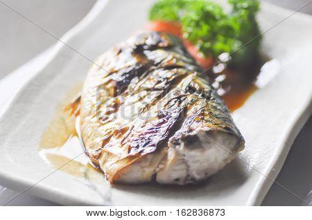 Saba shoyu yaki  ,Grilled Mackerel in japanese food