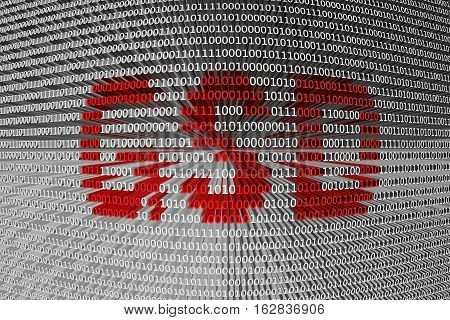 GSD is presented in the form of binary code 3d illustration