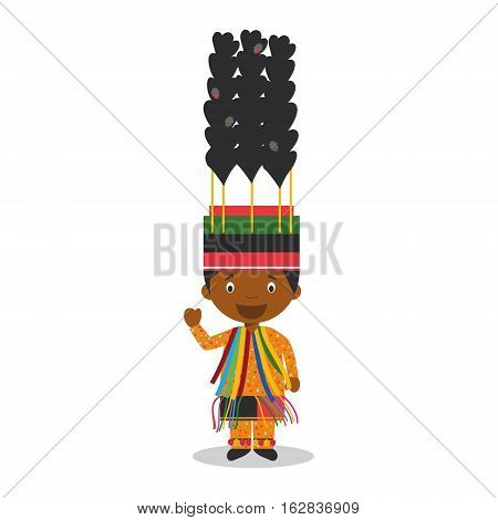 Character from Saint Kitts and Nevis dressed in the traditional way for carnival. Vector Illustration. Kids of the World Collection.