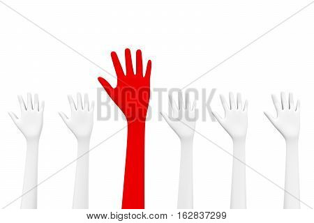 the red hand is raised among the white the unique 3D illustration