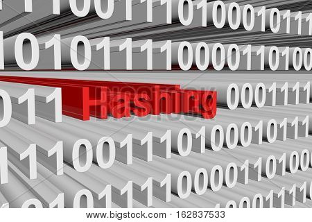 hashing in the form of binary code, 3D illustration