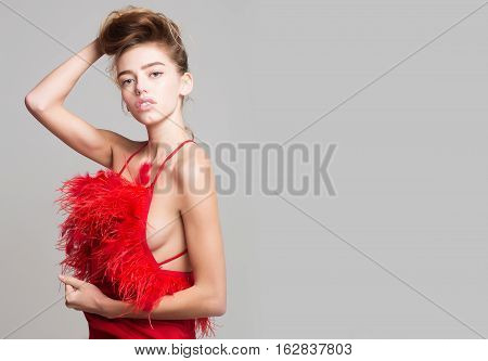 Pretty Girl In Red Feather Dress