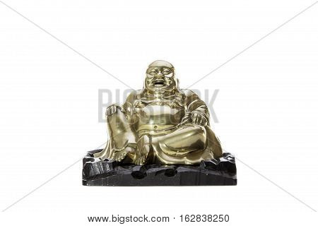 Traditional brass laughing monk buddha figurine. A figure of the Buddhist legend that is the laughing monk or Buddha. Isolated against a white background with copy space