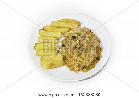 East meets West Curry and Chips. Chicken Korma with vegetables and sultanas served with chunky chips. Isolated against a white background.