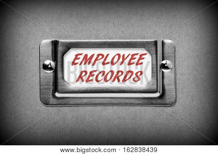 Filing cabinet drawer label with the words Employee Records added in red text