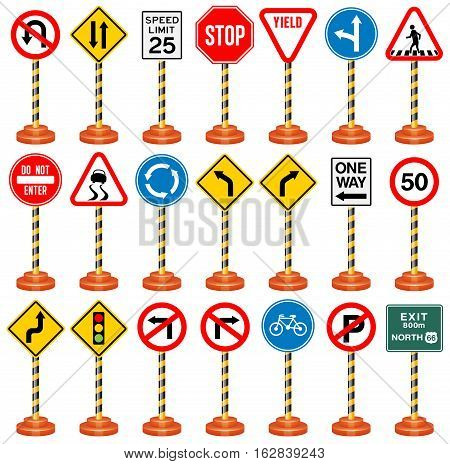 Vector Illustration of Road Signs. Best for Transportation, Safety, Travel, Signs and Symbols concept.