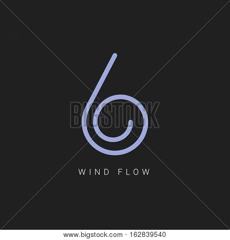 Wind line art logo. Energy type. Alternative energy. Wind company logo. Vector illustration