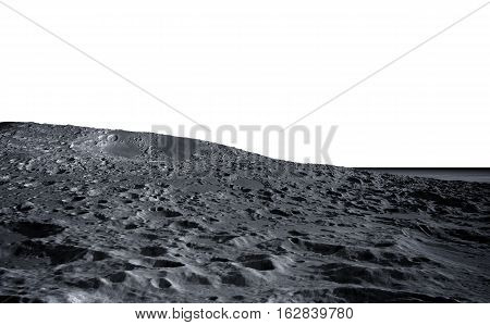 moon surface. The space view of the planet earth. isolate. 3d rendering.