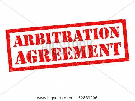 ARBITRATION AGREEMENT red Rubber Stamp over a white background.