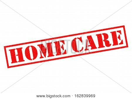 HOME CARE red Rubber Stamp over a white background.