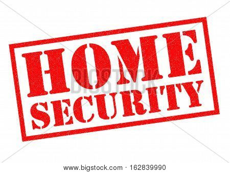 HOME SECURITY red Rubber Stamp over a white background.
