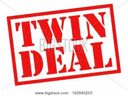 TWIN DEAL red Rubber Stamp over a white background.