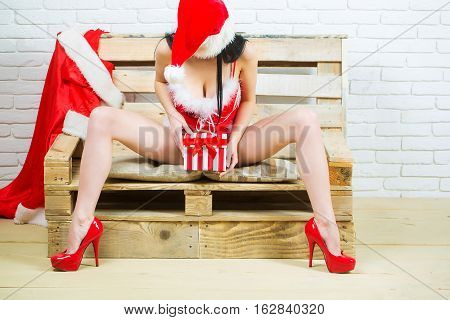 Christmas Sexy Girl With Present