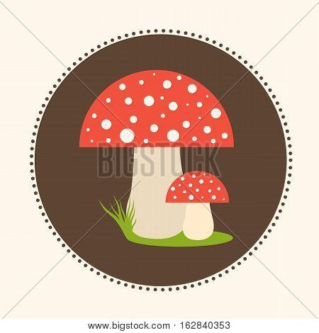 Vector Fly-Agaric Mushrooms Flat Design Illustration EPS 10 Logo