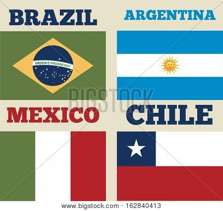 countries flags of latin america. colorful design. vector illustration