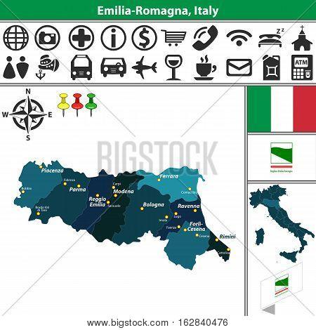 Emilia Romagna With Regions, Italy