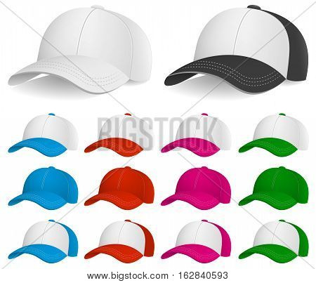 Vector Illustration of Baseball Caps. Best for Clothing, Design Element, Sport concept.