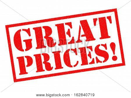 GREAT PRICES! red Rubber Stamp over a white background.